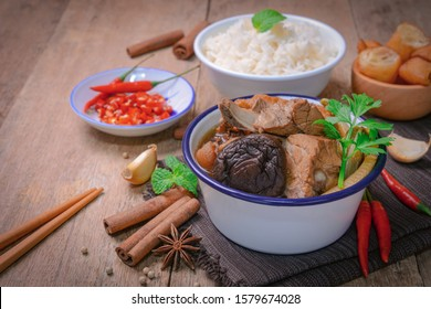 malaysian bak kut teh stew of pork with chinese herb soup and rice.