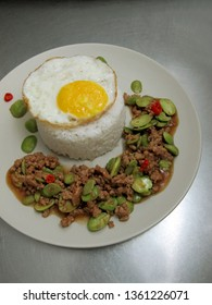 Malaysian Chinese Food Minced Pork Stir Fried with Petai Stinky Beans, Egg & Ruce                             - Shutterstock ID 1361226071