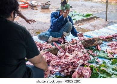 Malaysian Muslims community butchering cow's meat during Eid Adha, the Festival of Sacrifice, remembering the story of Prophet Abraham and his son, Ismael.