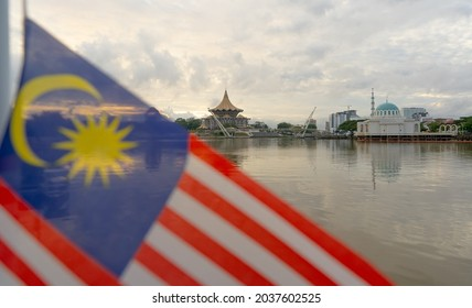 malaysian national day celebration at the ferry terminal in kuching lively with the waving of the malaysian flags