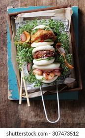 Malaysian steamed buns sandwiches
