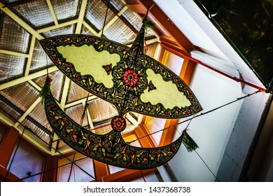 Malaysian traditional Wau or Moon kite hanging as decoration.