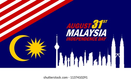 Malaysia's Independence day concept. Illustration of Malaysia Flag with text MALAYSIA INDEPENDENCE DAY