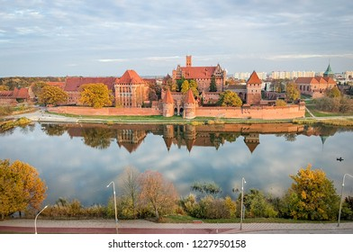Malbork castle - aerial view from Nogat river