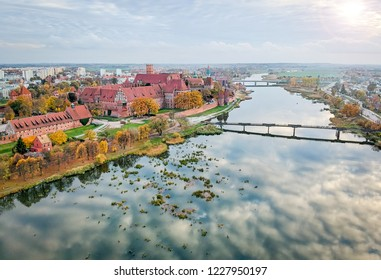 Malbork castle and city architecture in aerial view