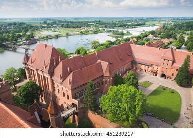 Malbork castle, high angle view from main tower, Poland