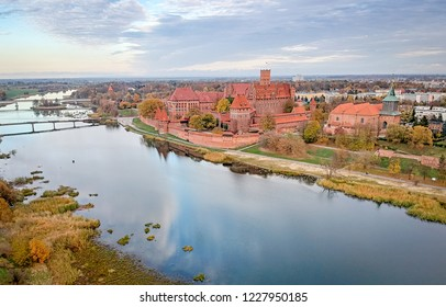 Malbork castle in October - aerial view