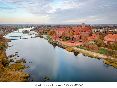 Malbork castle overview in autumn colors