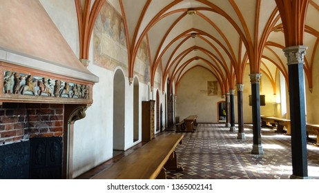 Malbork castle / Poland - 03 26 2019 : Convent Refectory room in High Castle section of Malbork castle (Marienburg) built by Teutonic knights in 13th centrury, Malbork town, Pomerania, Eastern Europe