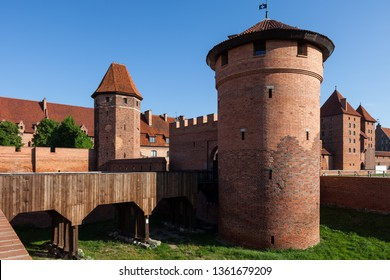 Malbork Castle in Poland, medieval fortress of Teutonic Order (German: Ordensburg Marienburg) Gothic fortification, UNESCO World Heritage Site.