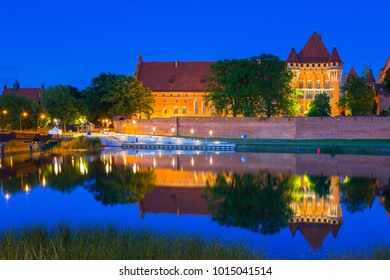 Malbork Castle of the Teutonic Order at night, Poland