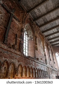 MALBORK, POLAND - 15 AUGUST, 2013: Ruins of Main Church of Teutonic Malbork castle, Poland. Malbork castle is the largest brick fortress in the world