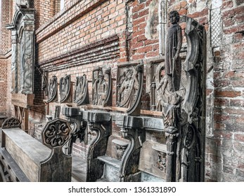 MALBORK, POLAND - 15 AUGUST, 2013: Reliefs of Prophets in Main Church of Teutonic Malbork castle, Poland. Malbork castle is the largest brick fortress in the world