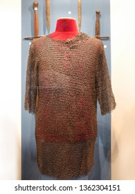 MALBORK, POLAND - 15 AUGUST, 2013: Medieval chain armour exhibited in the museum in the Teutonic Malbork castle, Poland. Malbork castle is the largest brick fortress in the world