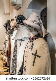 MALBORK, POLAND - 15 AUGUST, 2013: Teutonic order regalia exhibited in the museum in the Teutonic Malbork castle, Poland. Malbork castle is the largest brick fortress in the world