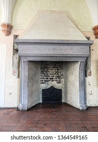 MALBORK, POLAND - 15 AUGUST, 2013: Gothic open fireplace, Teutonic Malbork castle, Poland. Malbork castle is the largest brick fortress in the world
