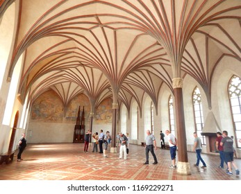 Malbork, Poland - 16.06.2018: Beautiful vault in the Malbork Castle