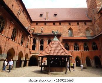 Malbork, Poland - 16.06.2018: Courtyard at the Malbork Castle