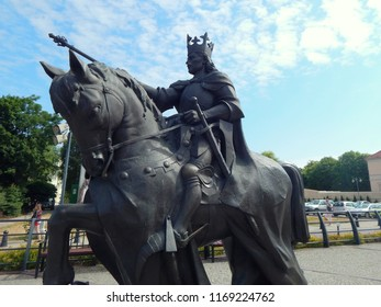 Malbork, Poland - 16.06.2018: Monument to the king Casimir IV Jagiellon in Malbork