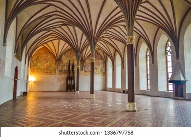 MALBORK, POLAND, 26 AUGUST 2018: Beautiful ceiling in the interior of the Malbork Castle, the biggest bricks structure in the world