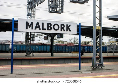 MALBORK, POLAND - April 11, 2017: The main Train Station of the Polish city of Malbork