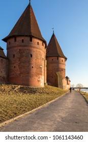 MALBORK, POLAND - April 2, 2017: Towers on Malbork castle in Malbork. Poland.