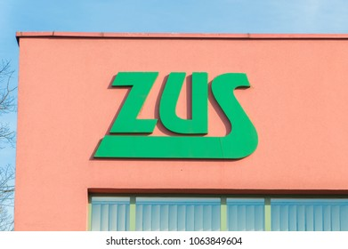 Malbork, Poland - April 4, 2017: Logo ZUS (Polish: Zaklad Ubezpieczen Spolecznych). ZUS is Polish Social Insurance Institution.