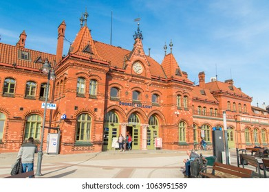Malbork, Poland - April 4, 2018: View of the main facade of Malbork railway station.