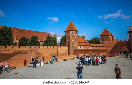 Malbork, Poland - AUGUST 28, 2018: Castle in Malbork. Poland