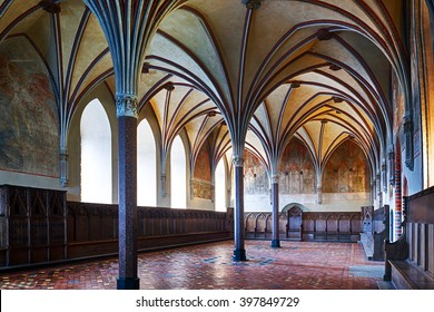 Malbork, Poland - January 31 2014. Gothic hall of the castle in Malbork.World Heritage List UNESCO.HDR - high dynamic range