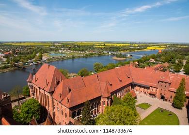 MALBORK, POLAND, JUL 21, 2017: Malbork, Marienburg, the biggest medieval gothic castle of the Order of Teutonic Knights (Ordensritter) in Poland