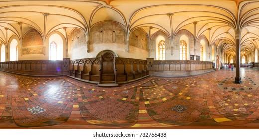 Malbork, Polish, July 29 2016: Full 360 degree equirectangula panorama The Castle of the Teutonic Order in Malbork