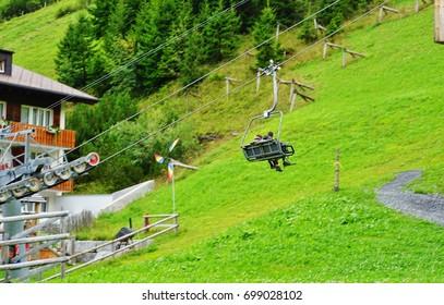 MALBUN, LIECHTENSTEIN -19 AUG 2017- View of Malbun, a ski resort village in the Alps mountains in Liechtenstein near the border with Austria. It is at an elevation of 1600 meters.