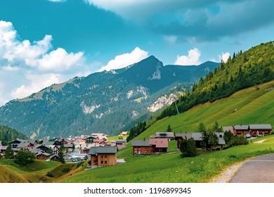 Malbun, Liechtenstein, 20th August 2018:- Views of buildings in Malbun, the only ski resort in Liechtenstein