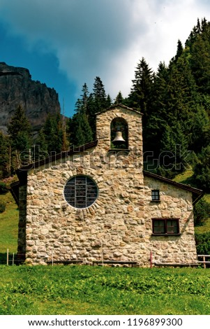 Malbun, Liechtenstein, 20th August 2018:- A church in Mlabun the only ski resort in Liechtenstein