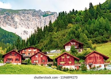Malbun, Liechtenstein, 20th August:- Buildings in Malbun, Liechtenstein's only ski resort in the summer