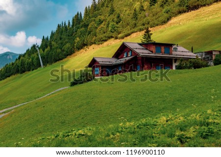 Malbun, Liechtenstein, 20th August:- Buildings in Malbun, Liechtenstein's only ski resort in the summer