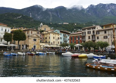 """Malcesine, Italy - August 15, 2015: Malcesine is a small town on Lake Garda (Italy). Beautiful and picturesque is called """"the pearl of the lake""""."""