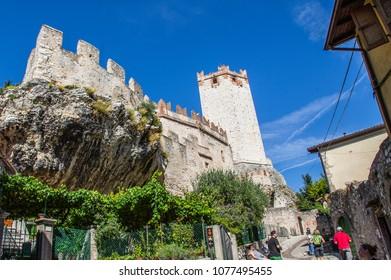 Malcesine, Italy - September 19,2013: Old castle in Malcesine - city on the lake Garda in Italy