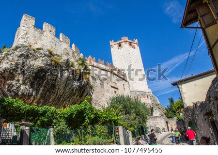 Malcesine, Italy - September 19,2013: Old castle in Malcesine - city on the lake Garda in Italy