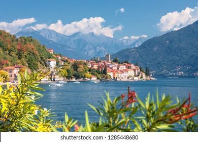Malcesine and Lago di Garda aerial view , Veneto region of Italy