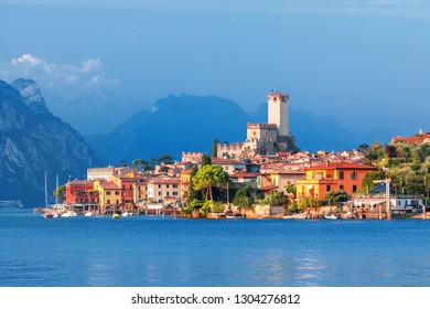 Malcesine and Lago di Garda lake view in Veneto region of Italy