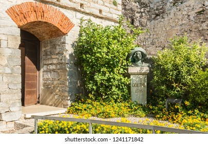 MALCESINE on GARDA lake, Italy - September 29, 2018: Bust of great German 18th century traveller and writer Johann Wolfgang von Goethe in the Scaliger Castle of Malcesine on Italy's Lake Garda