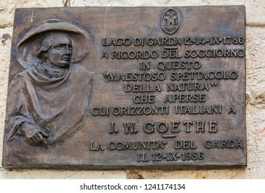 MALCESINE on GARDA lake, Italy - September 29, 2018: Plate dedicated to Johann Wolfgang von Goethe in Malcesine on Lake Garda in Northern Italy.