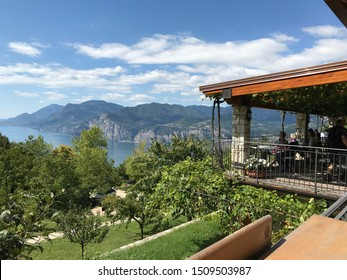 Malcesine/Italy 21. August 2017: View from the hill on Lake Garda in Malcesine in Italy. At the top of the mountain there is a restaurant with a panoramic view of the entire lake.  editorial