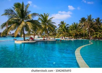 Maldives, 23 march 2013: Holiday Inn Resort Kandooma Maldives.   The Maldives. Paradise rest. Beautiful seascape. Place for relaxation