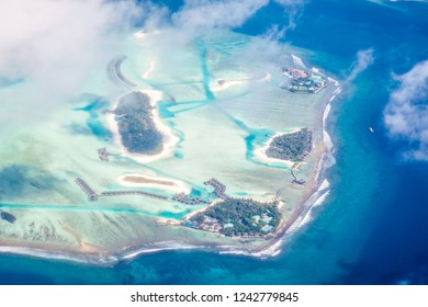 Maldives atoll from airplane
