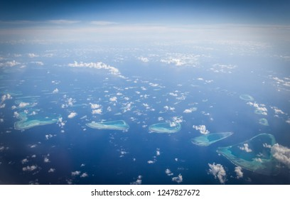 Maldives atoll, view from airplane