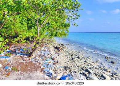 Maldives beach with full of plastic garbage, sea pollution concept
