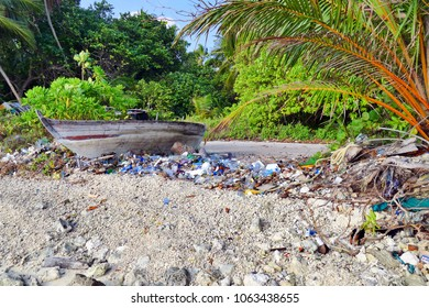 Maldives beach full of plastic garbage, sea pollution concept